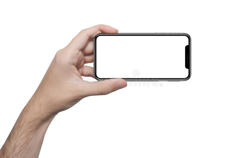 Isolated male hand holding the phone similar to iphone x isolated screen. Isolated male hand holding the phone similar to iphone x with isolated screen stock photos