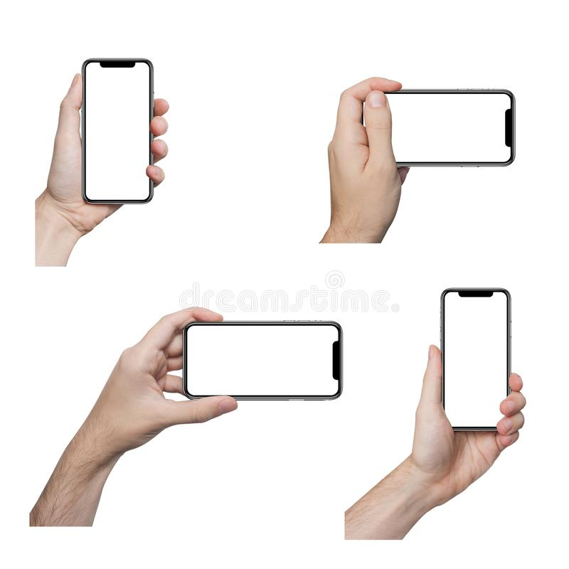 Isolated male hands holding the phone similar to iphone royalty free stock image