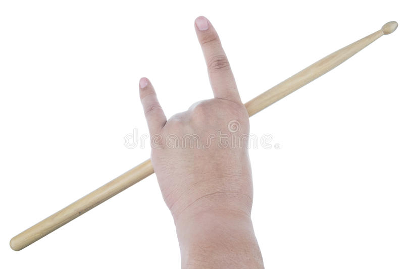 Isolated male left hand holding drum stick. On white background stock images