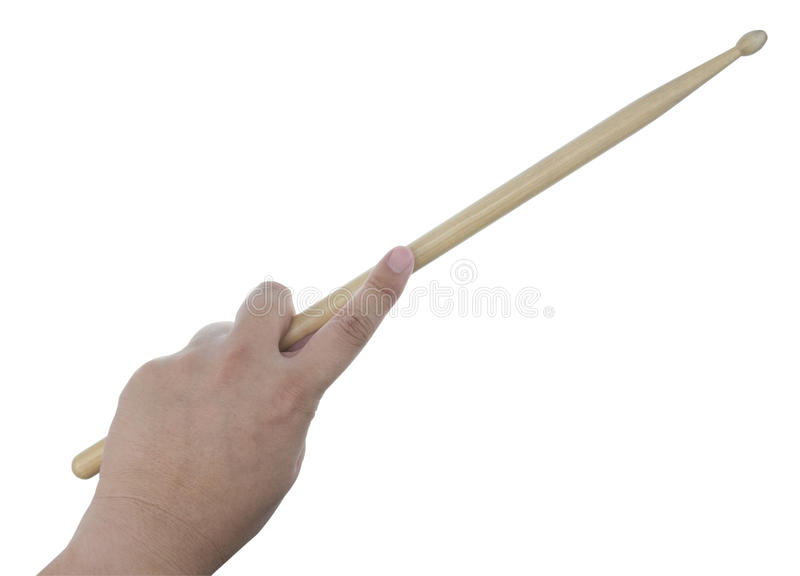 Isolated male left hand holding drum stick. On white background royalty free stock photos