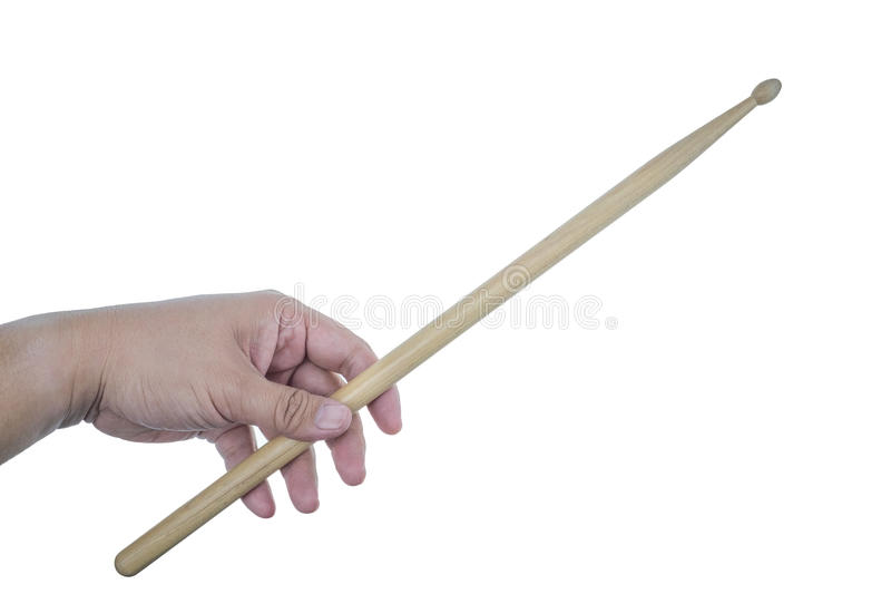 Isolated male left hand holding drum stick. On white background stock photos