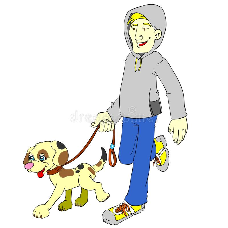 Isolated man and dog jogging stock photo