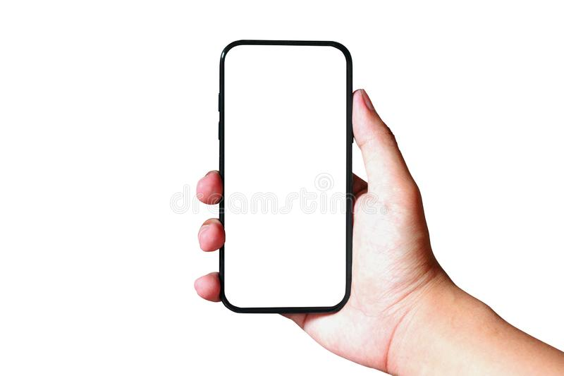 Isolated Man hand holding modern smartphone on white background, mock-up smartphone royalty free stock image