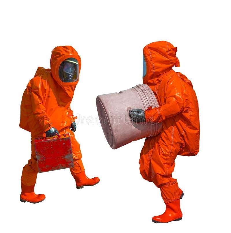 Isolated man in orange protective hazmat suit. On white royalty free stock photos