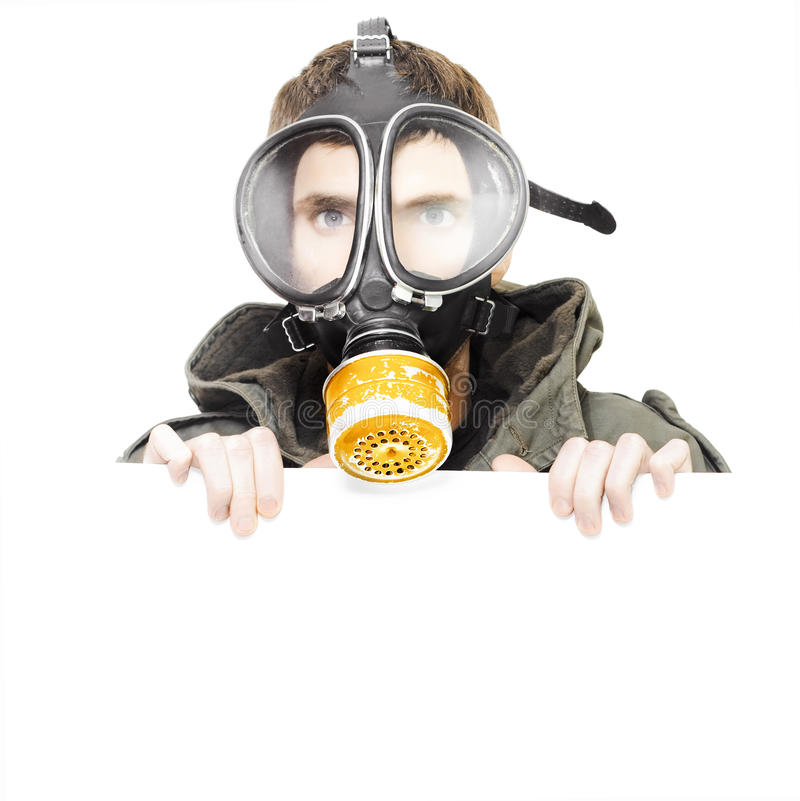 Download Isolated Man Wearing Gas Mask Holding Blank Sign Stock Image - Image: 25469347