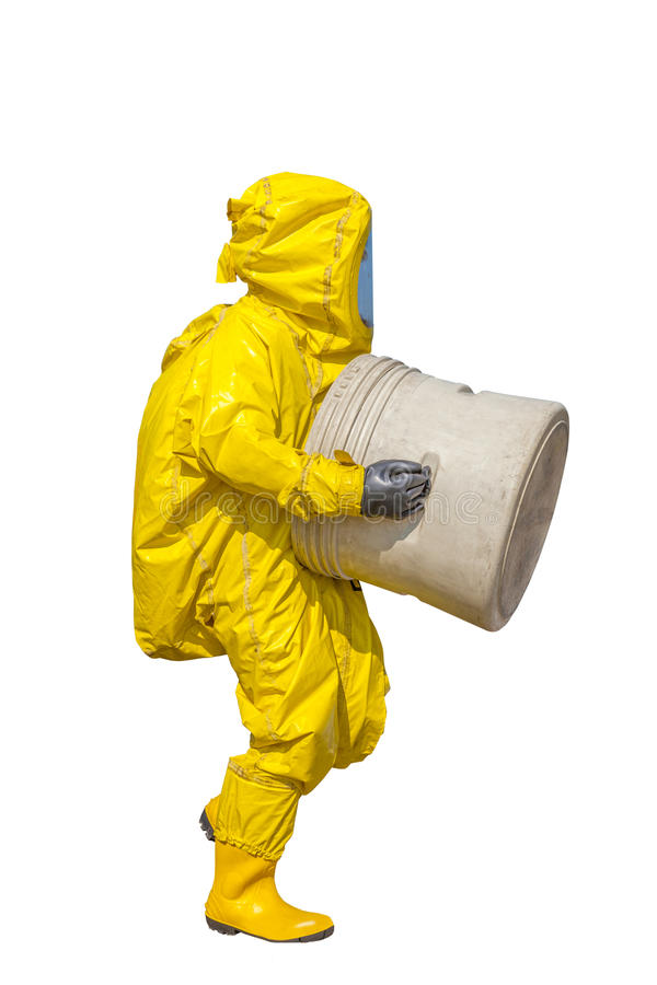 Isolated man in yellow protective hazmat suit. On white royalty free stock photos