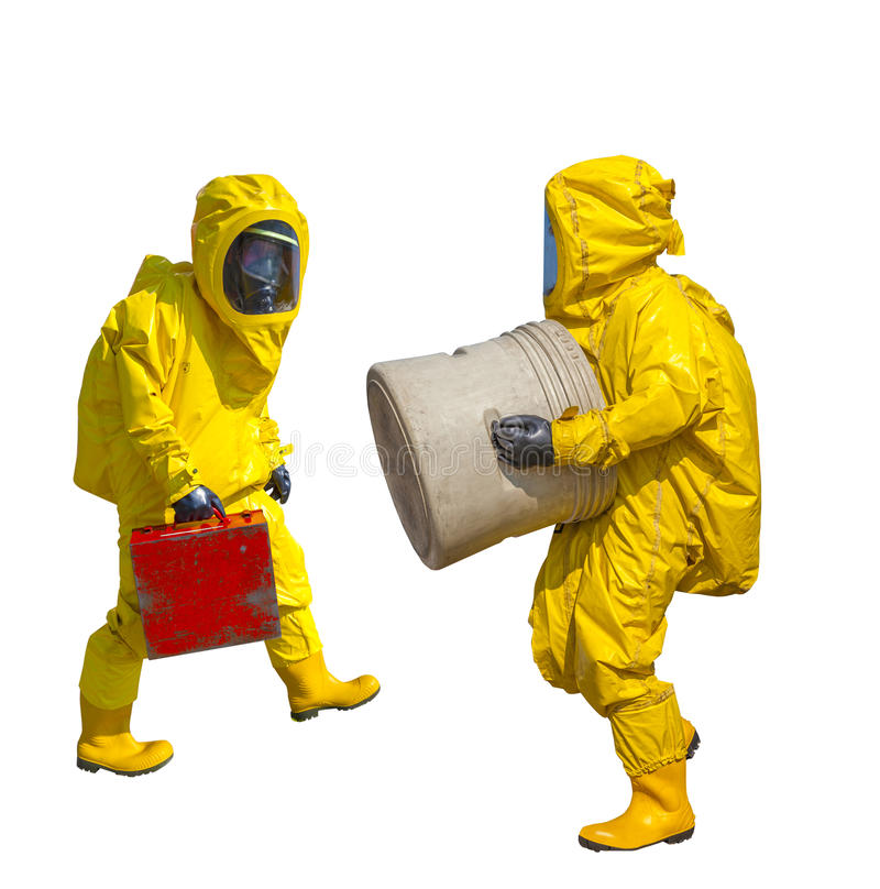 Isolated man in yellow protective hazmat suit. On white royalty free stock images