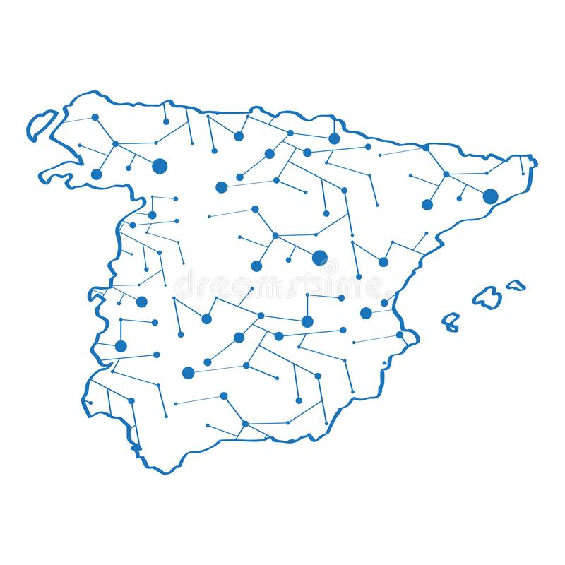 Isolated map of Spain royalty free illustration