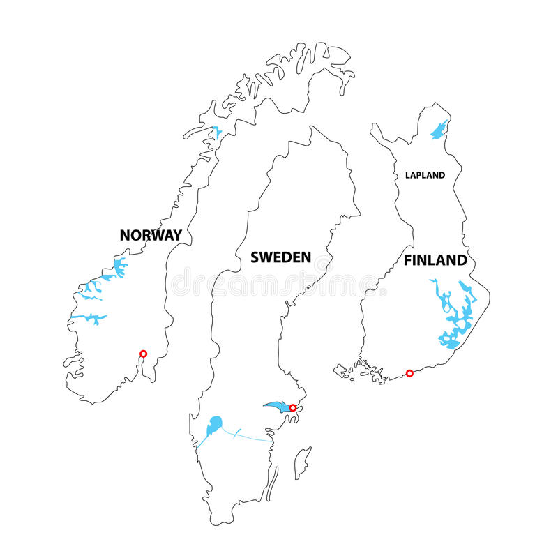 Download Isolated Maps Of Norway, Sweden An Finland Stock Vector - Image: 20755438