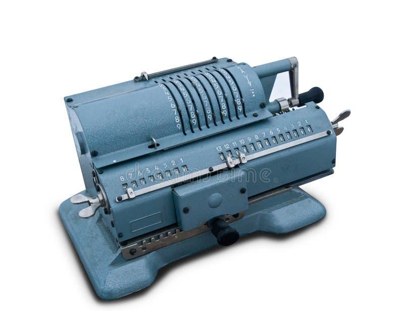 Isolated mechanical calculating machine stock image
