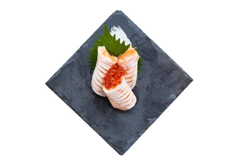 Isolated Medium Rare Salmon Sashimi Served with Ikura Salmon Roe and Sliced Radish in Stone Plate royalty free stock photography
