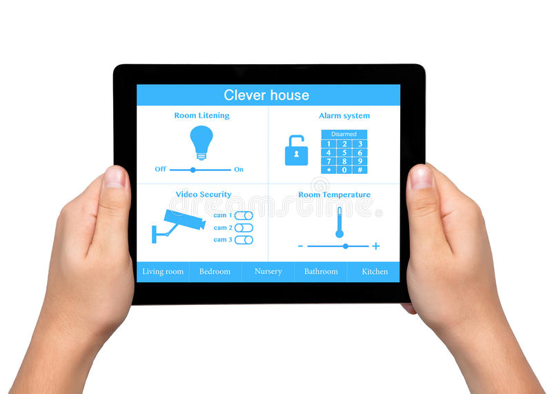Isolated men hands hold a tablet with system clever house on the. Isolated man hands hold a tablet touch computer with system clever house on the screen royalty free stock images