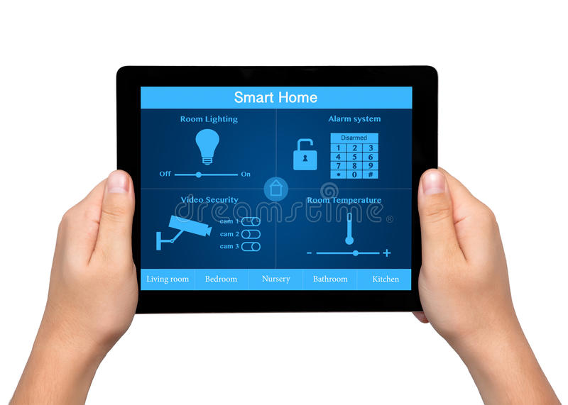 Isolated men hands hold a tablet with system smart house on the. Isolated men hands hold a tablet touch computer with system smart house on the screen royalty free stock photography