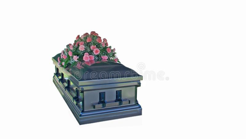Isolated Metal Casket with Pink Carnations stock photos