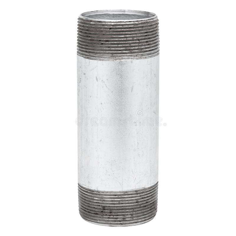 Isolated Metal Tube with Thread on White Background royalty free stock photo