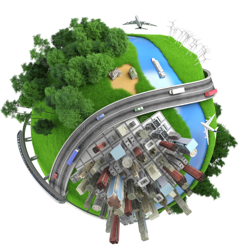 Isolated miniature globe tranports royalty free illustration