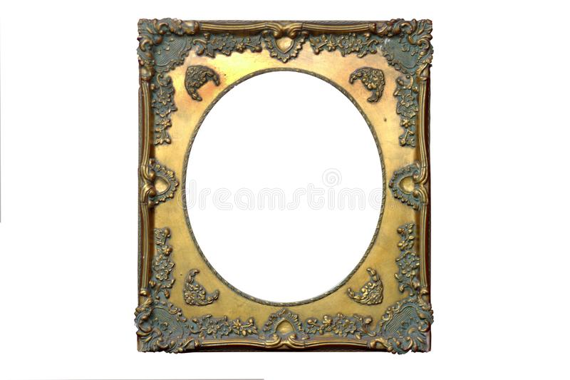 Isolated Mirror Frame, Ornamentation, Wooden Material. Retro Frame stock photo
