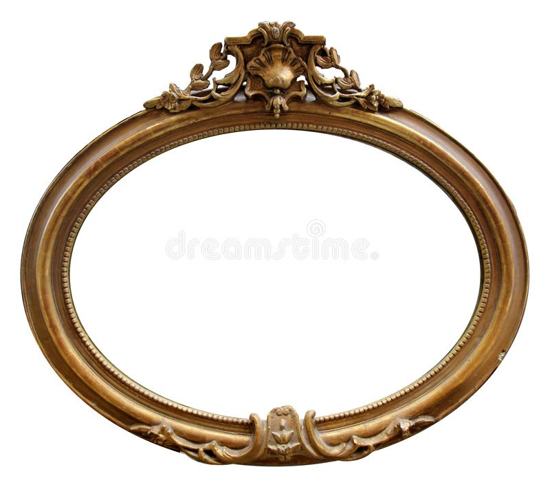Isolated Mirror Frame, Ornamentation, Wooden Material. Oval wooden material royalty free stock photography