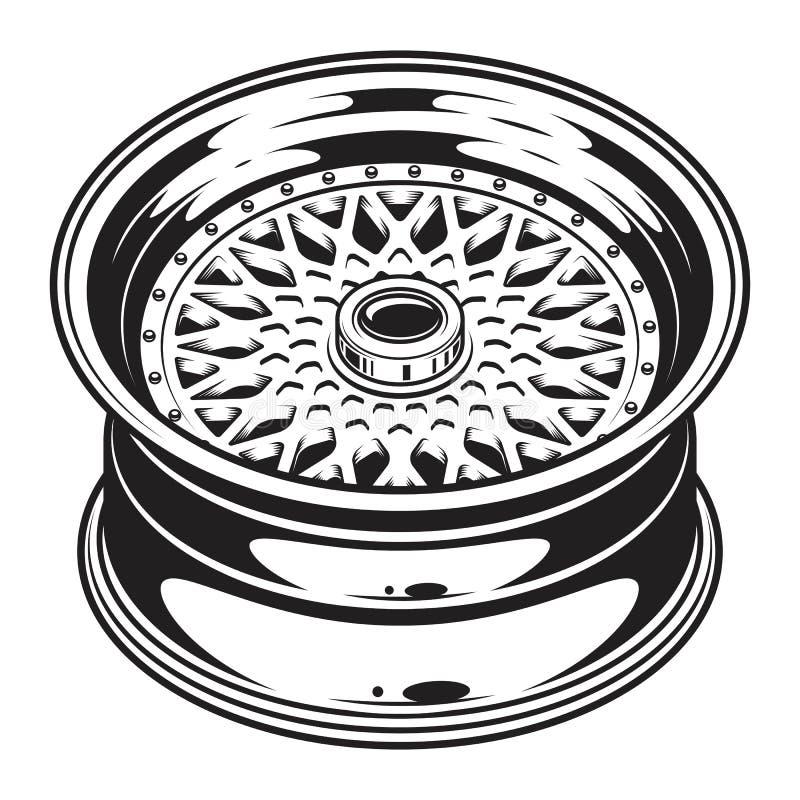 Free Isolated Monochrome Illustration Of Car Wheel Rim Royalty Free Stock Photography - 88413997