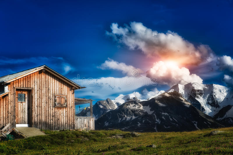 Isolated mountain hut. In the mountain of italy royalty free stock photos