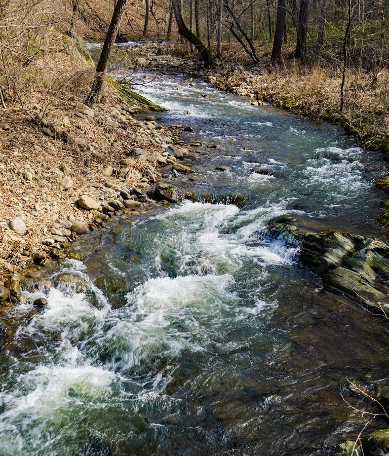 A Isolated Mountain Trout Stream in the Blue Ridge Mountains. A isolated mountain trout stream located in the Blue Ridge Mountains of Botetourt County, Virginia stock photo