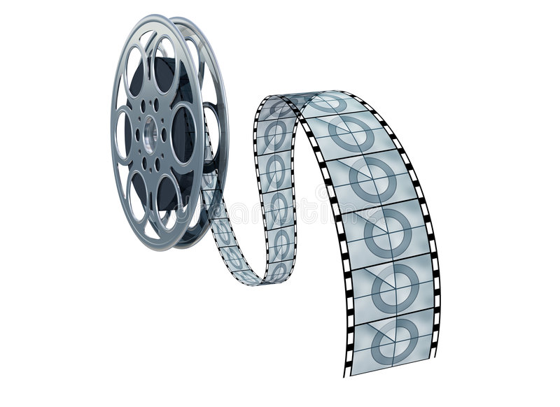 Isolated movie reel. Isolated illustration of a movie reel and film royalty free illustration