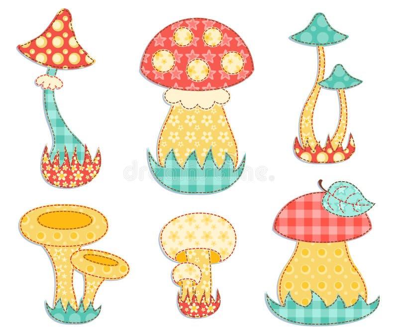 Isolated mushroom patchwork set. royalty free illustration