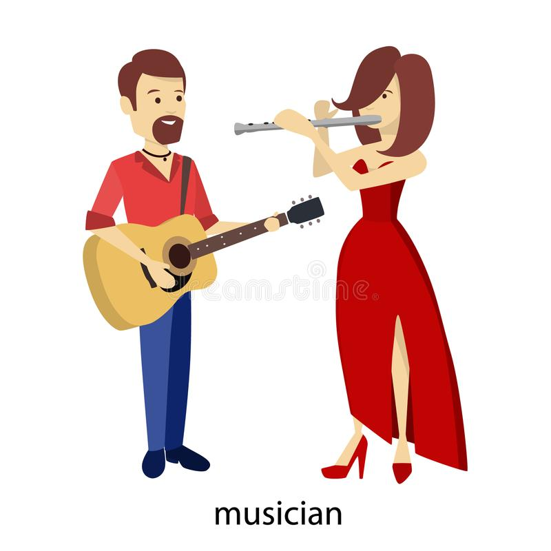 Isolated musicians couple. stock illustration