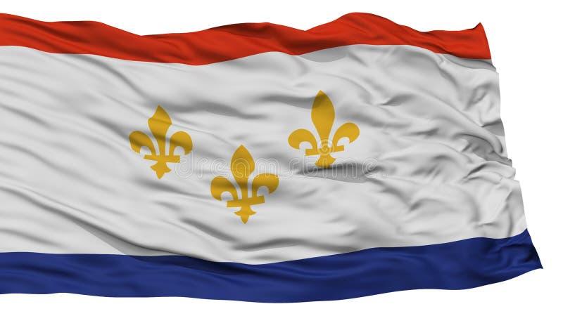 Isolated Louisiana Flag On Flagpole, USA State Stock