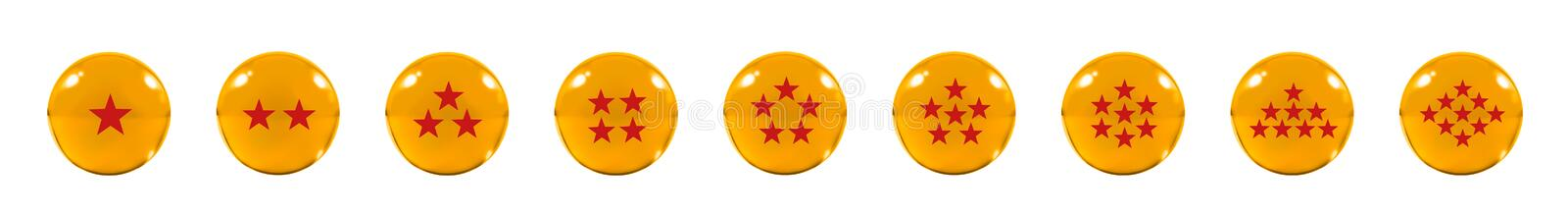 Isolated Nine Orange glass balls or marbles and a red star figure on, over white background with clipping path. stock images