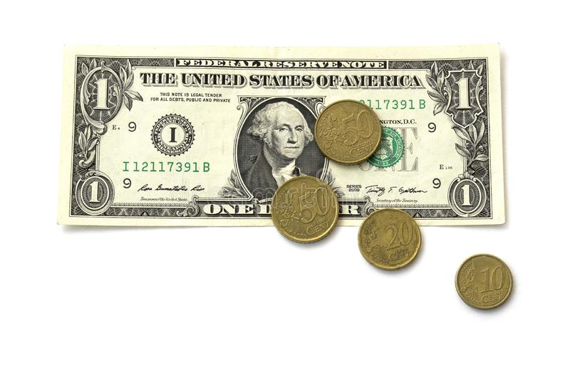 Isolated note of one American dollar and yellow coins of European cents in 50, 20 and 10 on a white background royalty free stock photo