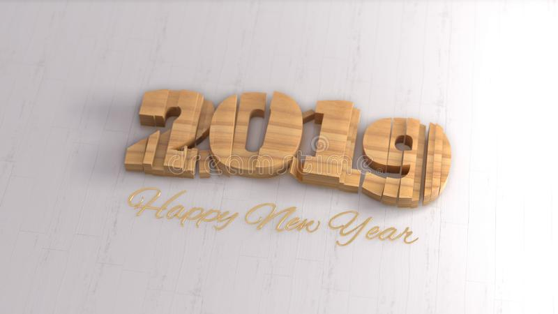 2019 isolated numbers lettering written by wood and golden Happy New year on white background. Selective focus macro royalty free stock images