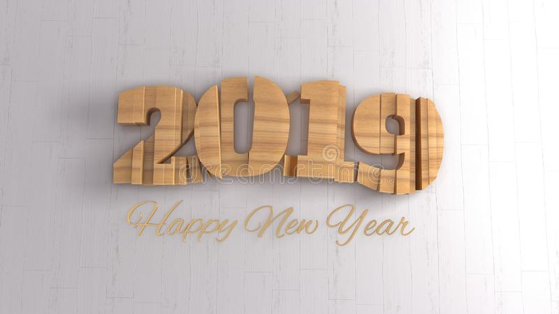 2019 isolated numbers lettering written by wood and golden Happy New year on white background. Selective focus macro stock image