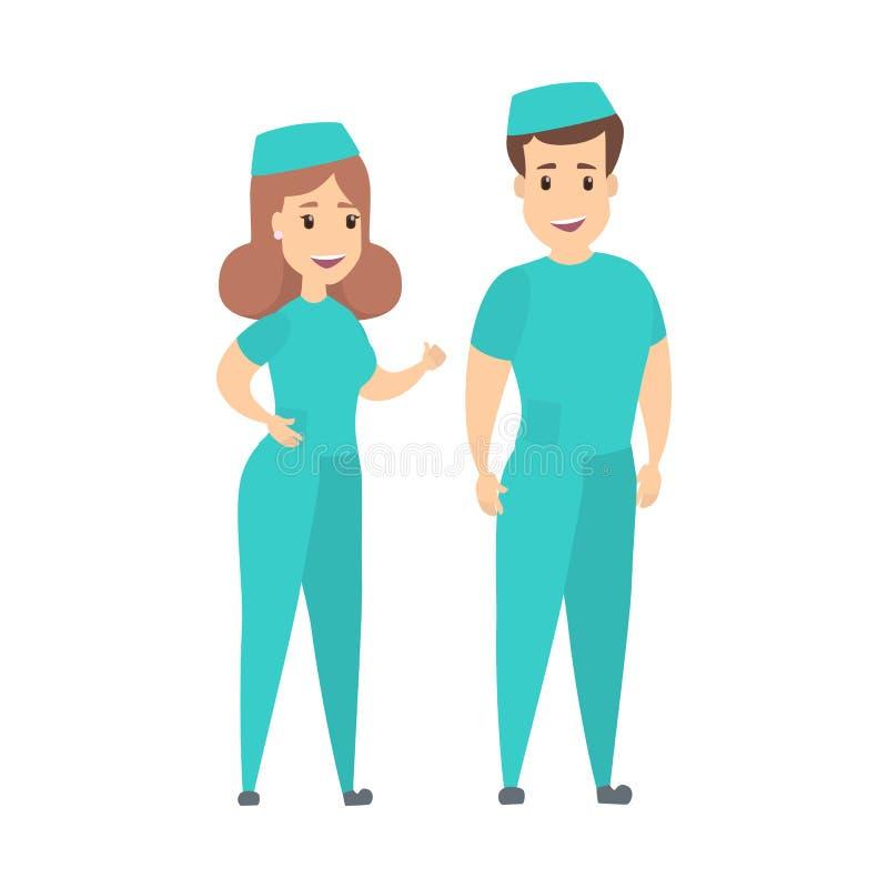 Isolated nurses couple. Isolated nurses couple standing on white background vector illustration