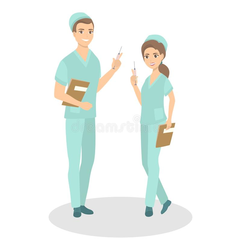 Isolated nurses couple. Man and woman standing in uniform royalty free illustration