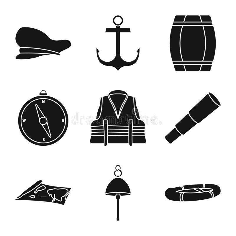 Vector illustration of attributes and vintage logo. Collection of attributes and sea stock symbol for web. Isolated object of attributes and vintage icon. Set stock illustration
