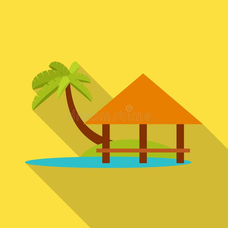 Vector illustration of beach and bungalow logo. Set of beach and romantic vector icon for stock. Isolated object of beach and bungalow icon. Collection of beach royalty free illustration