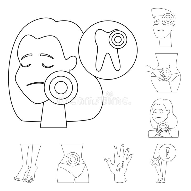 Isolated object of bone and inflammation  icon. Set of bone and wound stock symbol for web. Vector design of bone and inflammation  symbol. Collection of bone royalty free illustration