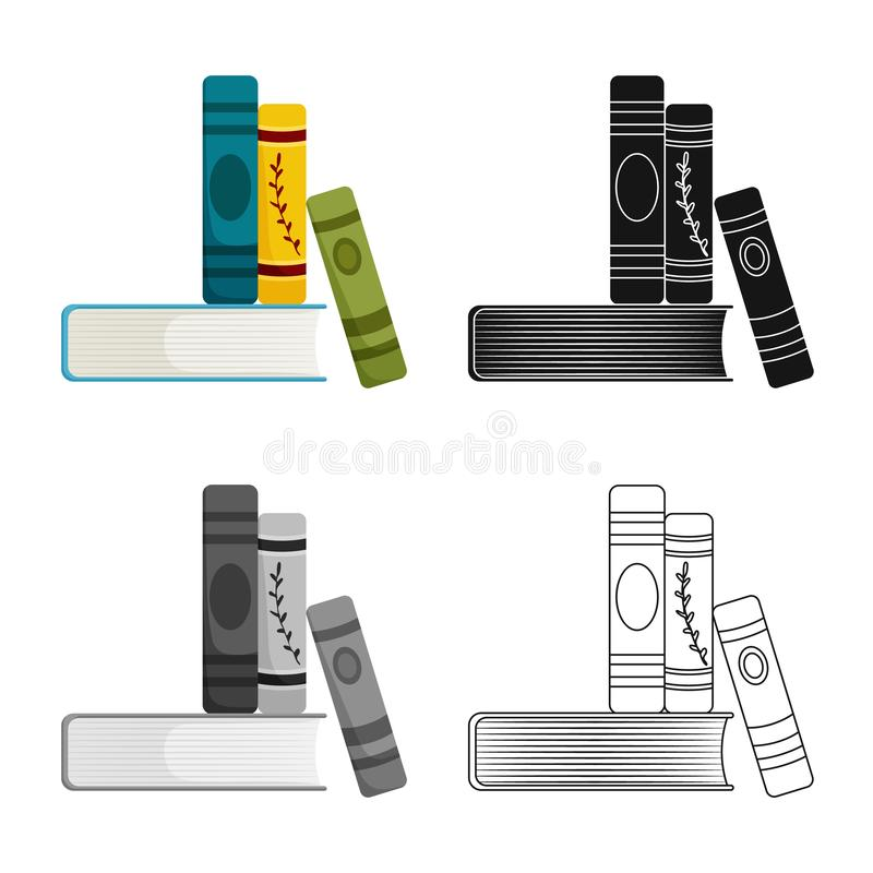 Isolated object of book and stack icon. Collection of book and writing vector icon for stock. Vector design of book and stack symbol. Set of book and writing royalty free illustration