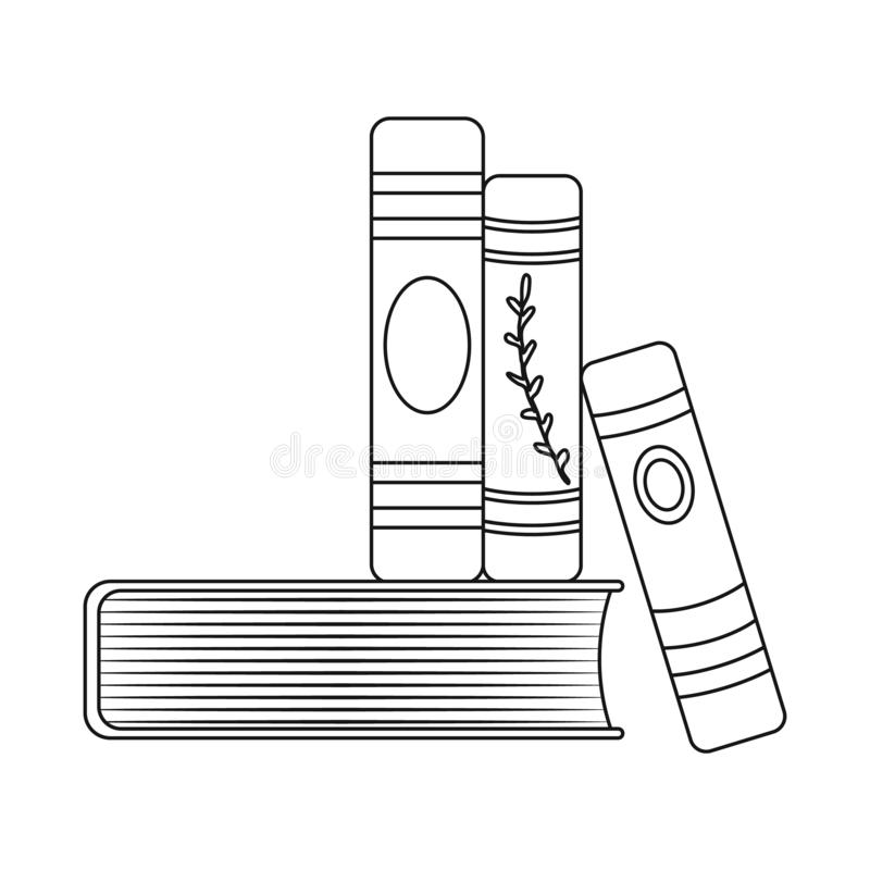 Isolated object of book and stack logo. Collection of book and writing stock symbol for web. Vector design of book and stack icon. Set of book and writing stock stock illustration