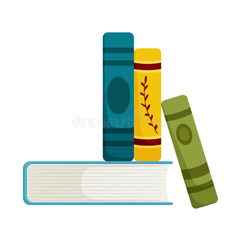 Vector illustration of book and stack symbol. Collection of book and writing stock symbol for web. Isolated object of book and stack sign. Set of book and royalty free illustration