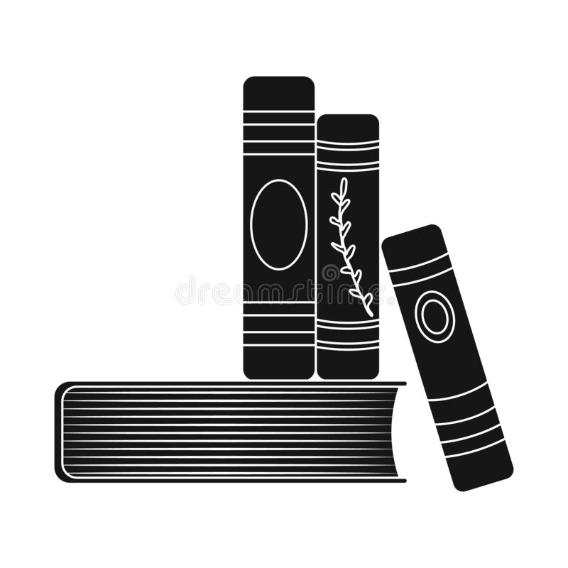 Isolated object of book and stack symbol. Set of book and writing vector icon for stock. Vector design of book and stack sign. Collection of book and writing stock illustration