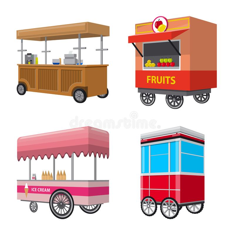 Isolated object of booth and kiosk symbol. Collection of booth and small stock vector illustration. Vector design of booth and kiosk sign. Set of booth and royalty free illustration