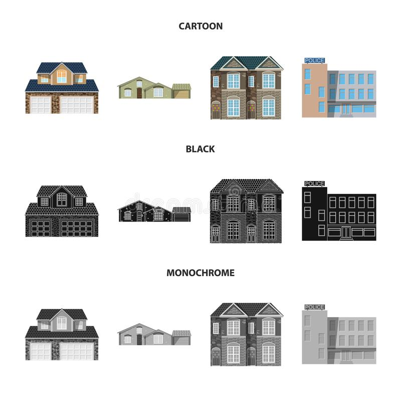 Isolated object of building and front logo. Set of building and roof vector icon for stock. Vector design of building and front icon. Collection of building and vector illustration