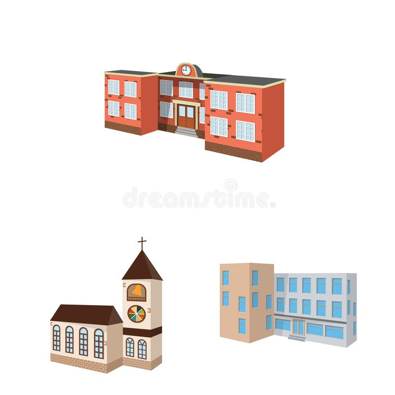 Isolated object of building and home logo. Set of building and construction vector icon for stock. Vector design of building and home icon. Collection of vector illustration