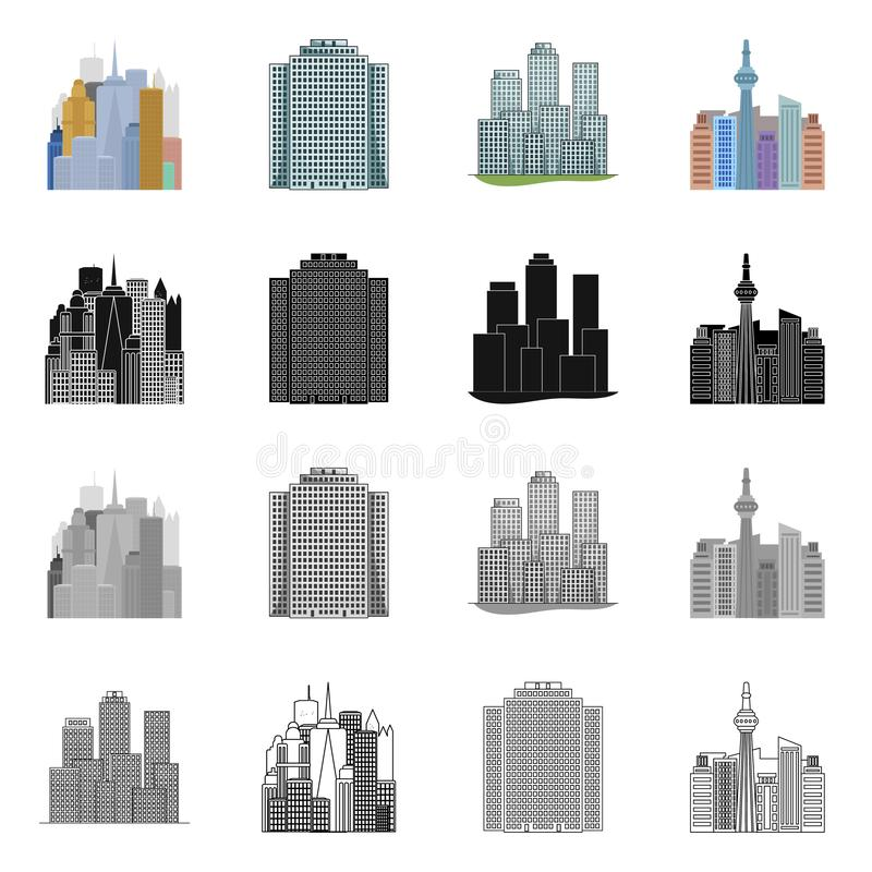 Vector illustration of  and building symbol. Collection of  and hotel stock symbol for web. Isolated object of  and building sign. Set of  and hotel stock vector illustration
