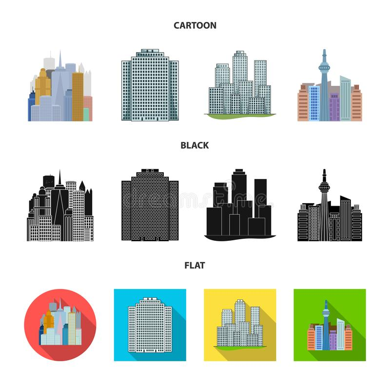 Isolated object of  and building symbol. Collection of  and hotel vector icon for stock. Vector design of  and building sign. Set of  and hotel stock symbol for vector illustration