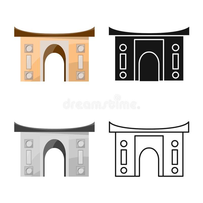 Vector illustration of building and vietnam icon. Collection of building and place stock vector illustration. Isolated object of building and vietnam symbol royalty free illustration