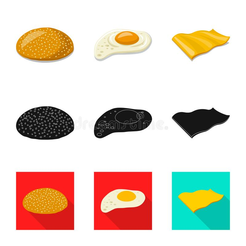 Vector illustration of burger and sandwich icon. Collection of burger and slice stock symbol for web. Isolated object of burger and sandwich symbol. Set of royalty free illustration