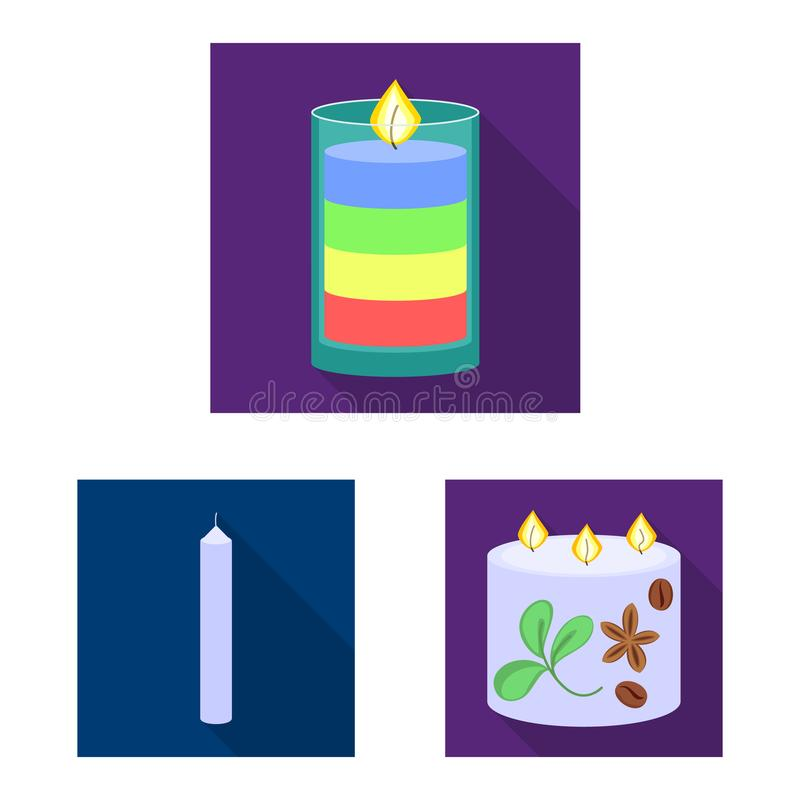 Vector illustration of candlelight and decoration logo. Set of candlelight and flame vector icon for stock. Isolated object of candlelight and decoration icon stock illustration